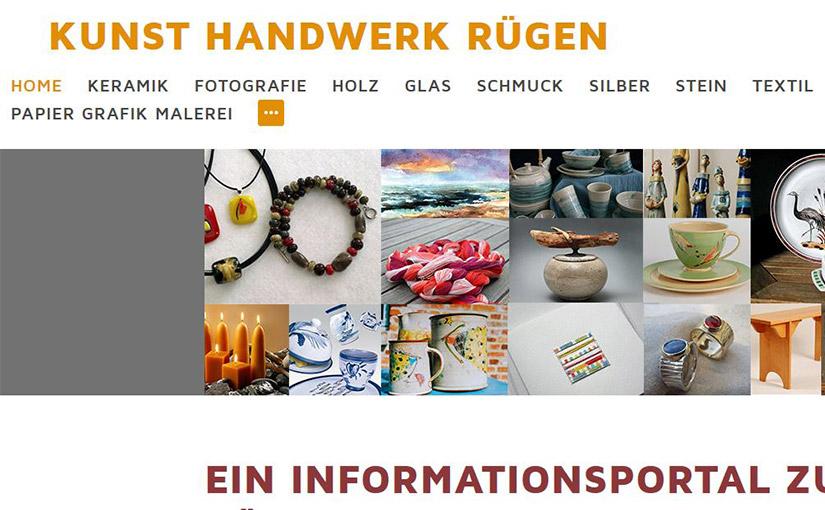 Website für Kunst Handwerk Informationen für Rügentouristen