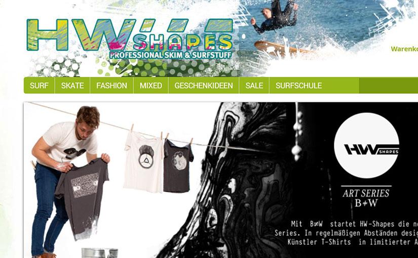 Design für den Webshop von HW-Shapes