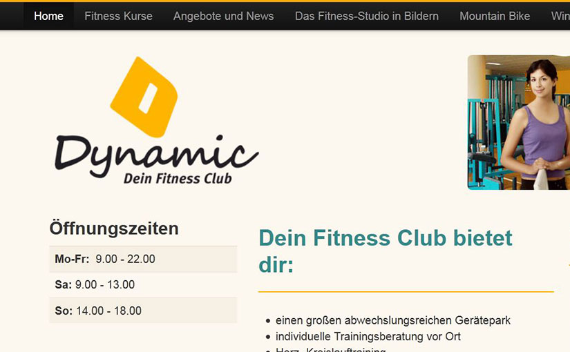 "Die Homepage des Fitness Clubs ""Dynamic"""