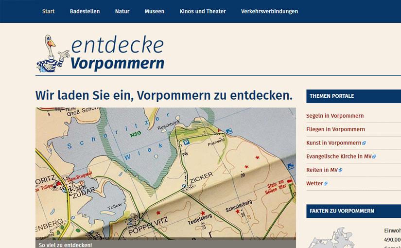 Webseite für entdecke Vorpommern